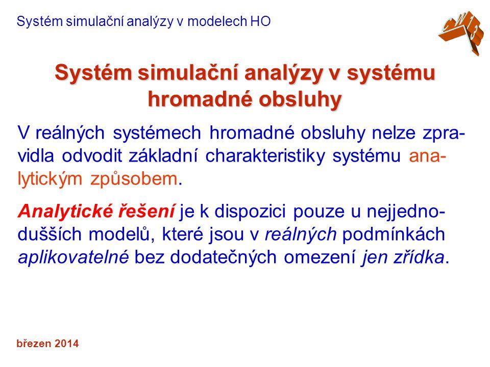 březen 2014 Systém simulační analýzy v systému hromadné obsluhy Systém simulační analýzy v modelech HO V reálných systémech hromadné obsluhy nelze zpra- vidla odvodit základní charakteristiky systému ana- lytickým způsobem.