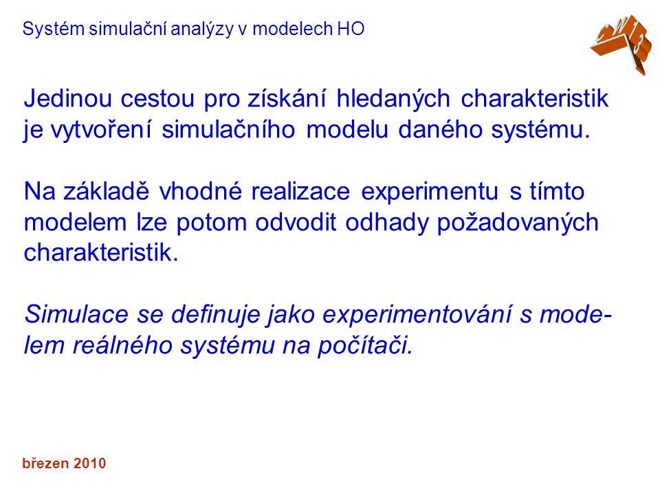 březen 2010 Systém simulační analýzy v modelech HO Jedinou cestou pro získání hledaných charakteristik je vytvoření simulačního modelu daného systému.