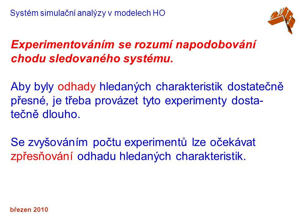 březen 2010 Systém simulační analýzy v modelech HO Experimentováním se rozumí napodobování chodu sledovaného systému.