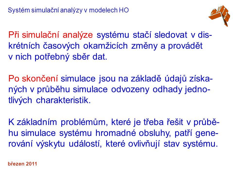 březen 2011 Systém simulační analýzy v modelech HO Při simulační analýze systému stačí sledovat v dis- krétních časových okamžicích změny a provádět v nich potřebný sběr dat.
