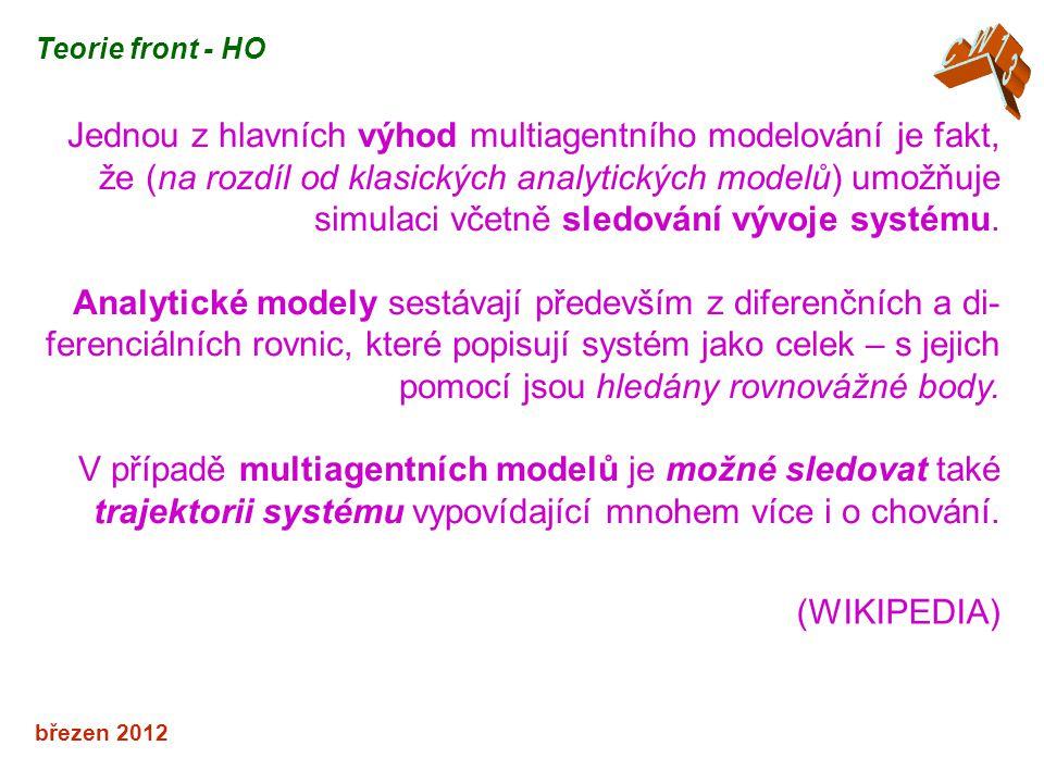 březen 2012 Teorie front - HO Jednou z hlavních výhod multiagentního modelování je fakt, že (na rozdíl od klasických analytických modelů) umožňuje sim