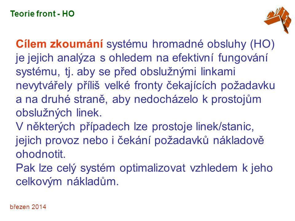 březen 2014 Cílem zkoumání systému hromadné obsluhy (HO) je jejich analýza s ohledem na efektivní fungování systému, tj.