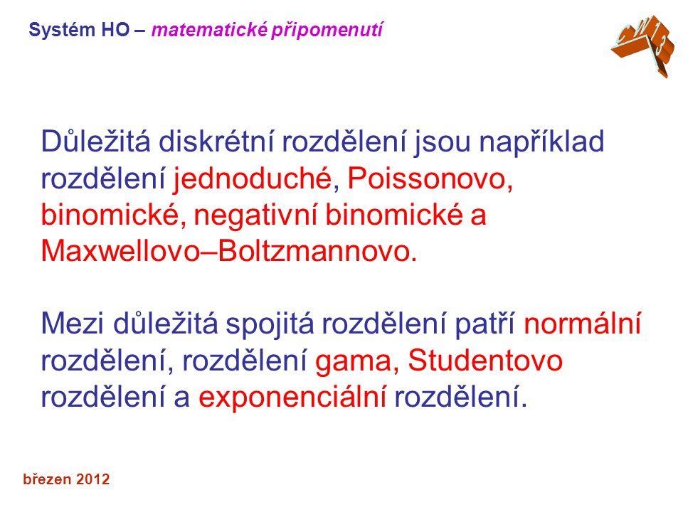 březen 2012 Důležitá diskrétní rozdělení jsou například rozdělení jednoduché, Poissonovo, binomické, negativní binomické a Maxwellovo–Boltzmannovo.