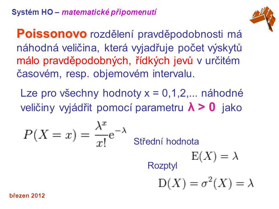 Střední hodnota Rozptyl březen 2012 Poissonovo Poissonovo rozdělení pravděpodobnosti má náhodná veličina, která vyjadřuje počet výskytů málo pravděpodobných, řídkých jevů v určitém časovém, resp.
