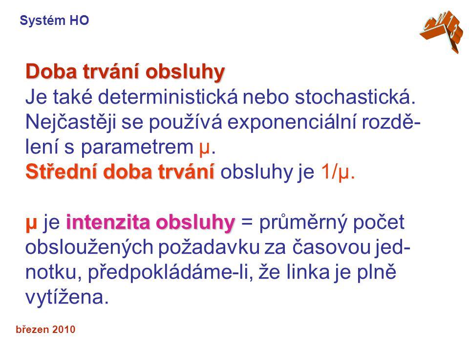 březen 2010 Doba trvání obsluhy Je také deterministická nebo stochastická.