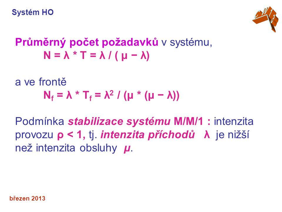 březen 2013 Průměrný počet požadavků v systému, N = λ * T = λ / ( μ − λ) a ve frontě N f = λ * T f = λ 2 / (μ * (μ − λ)) Podmínka stabilizace systému M/M/1 : intenzita provozu ρ < 1, tj.