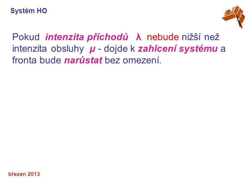 březen 2013 Pokud intenzita příchodů λ nebude nižší než intenzita obsluhy μ - dojde k zahlcení systému a fronta bude narůstat bez omezení. Systém HO