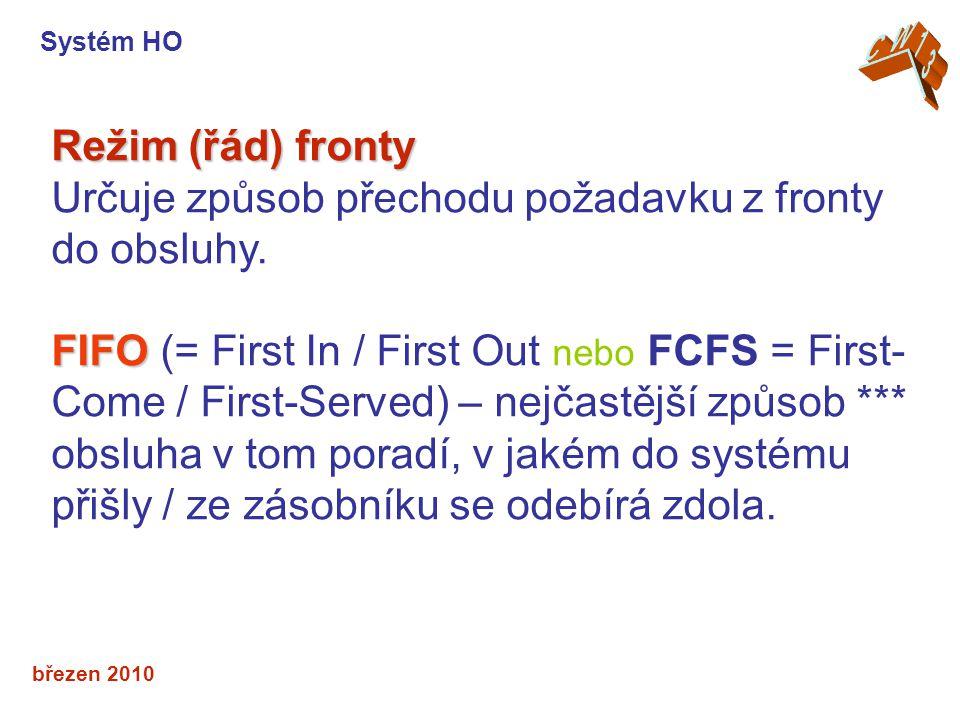 březen 2010 Režim (řád) fronty Určuje způsob přechodu požadavku z fronty do obsluhy.