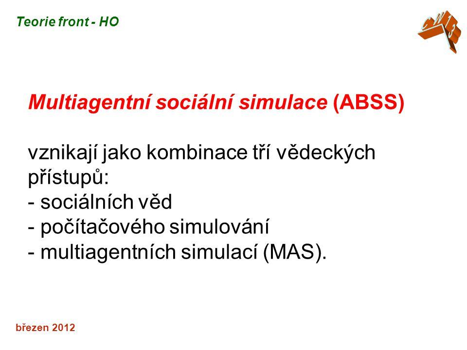 březen 2012 Multiagentní sociální simulace (ABSS) vznikají jako kombinace tří vědeckých přístupů: - sociálních věd - počítačového simulování - multiagentních simulací (MAS).
