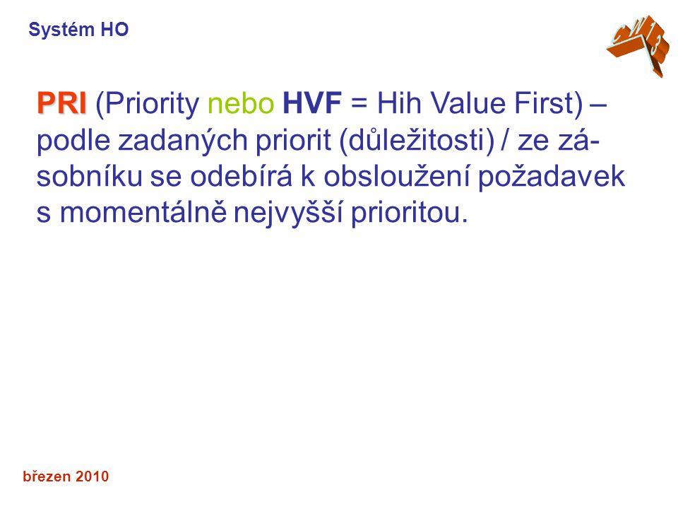 březen 2010 PRI PRI (Priority nebo HVF = Hih Value First) – podle zadaných priorit (důležitosti) / ze zá- sobníku se odebírá k obsloužení požadavek s momentálně nejvyšší prioritou.