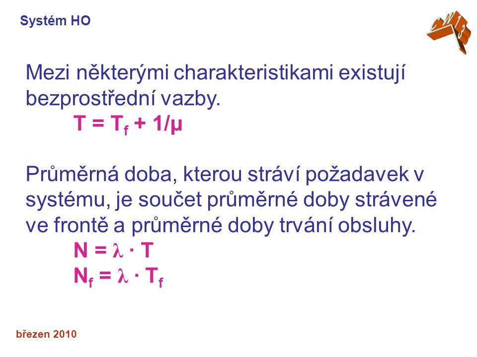 březen 2010 Mezi některými charakteristikami existují bezprostřední vazby. T = T f + 1/μ Průměrná doba, kterou stráví požadavek v systému, je součet p