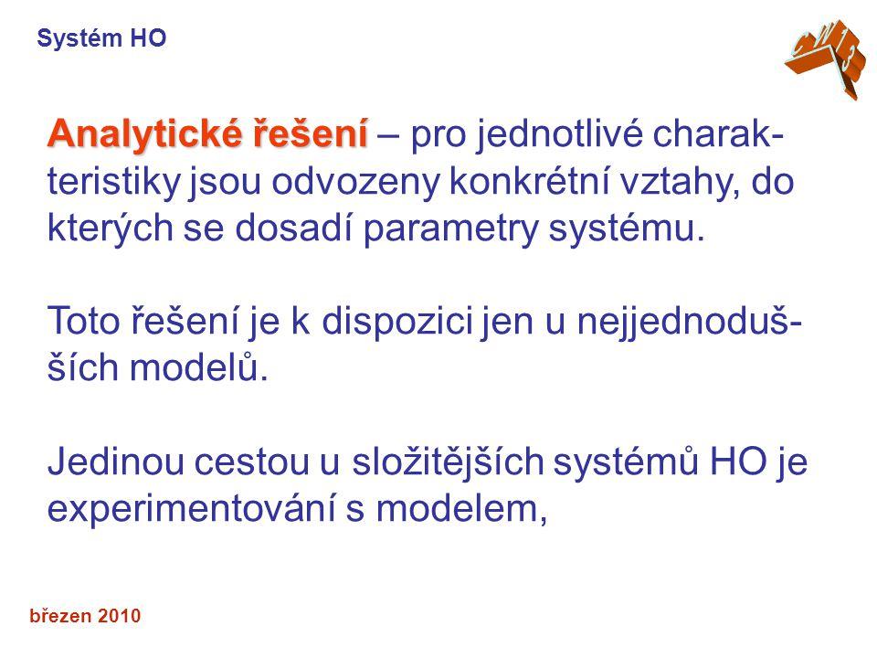 březen 2010 Analytické řešení Analytické řešení – pro jednotlivé charak- teristiky jsou odvozeny konkrétní vztahy, do kterých se dosadí parametry syst