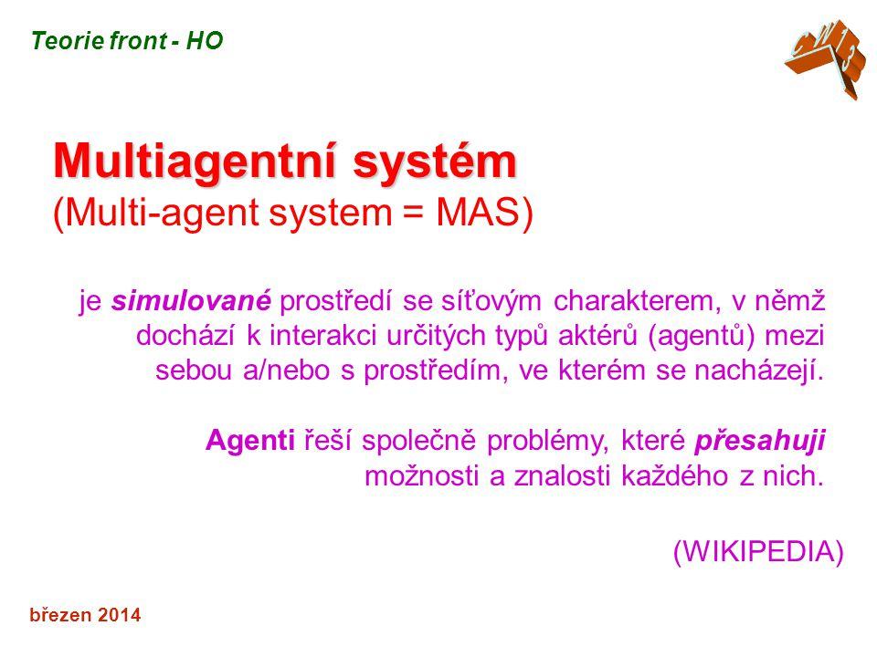 březen 2014 Multiagentní systém (Multi-agent system = MAS) je simulované prostředí se síťovým charakterem, v němž dochází k interakci určitých typů aktérů (agentů) mezi sebou a/nebo s prostředím, ve kterém se nacházejí.