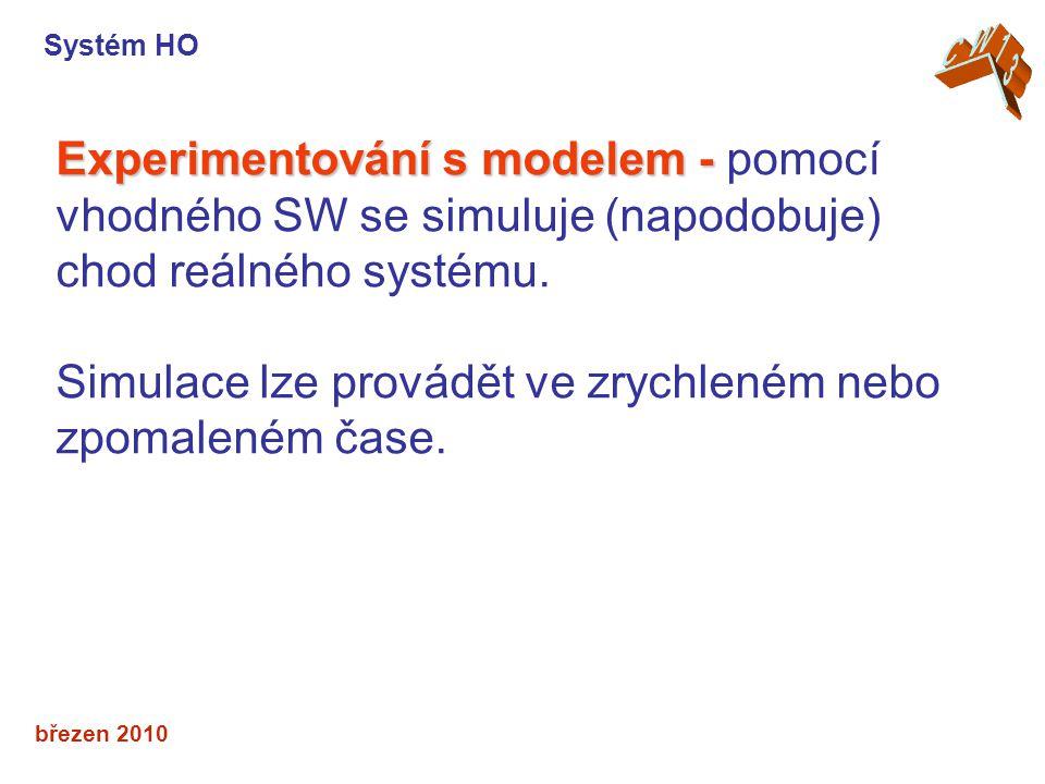březen 2010 Experimentování s modelem - Experimentování s modelem - pomocí vhodného SW se simuluje (napodobuje) chod reálného systému.