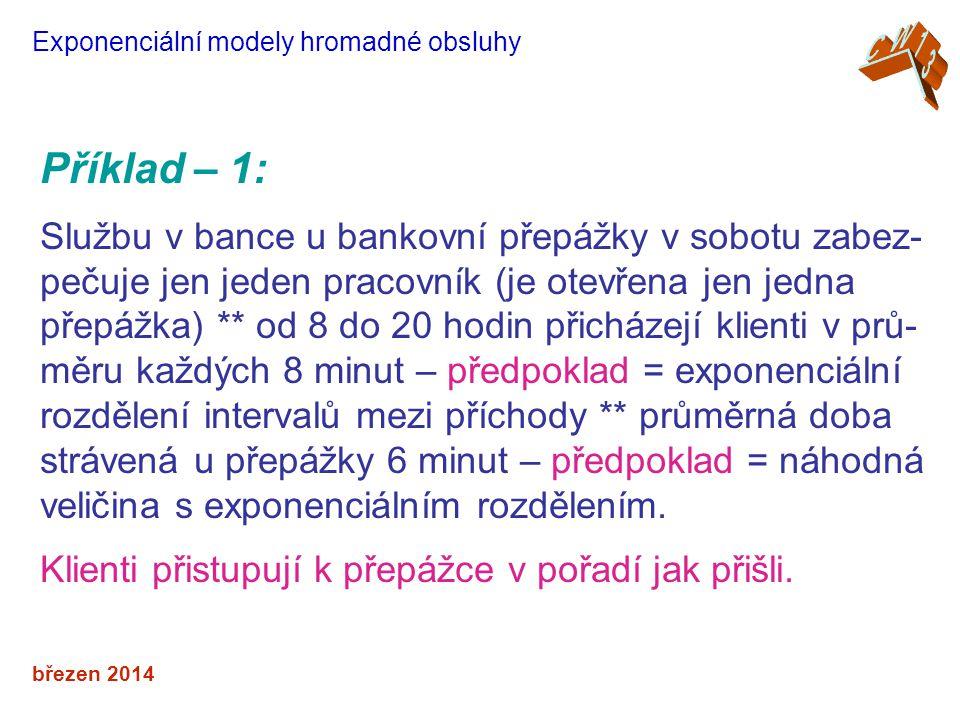 březen 2014 Exponenciální modely hromadné obsluhy Příklad – 1: Službu v bance u bankovní přepážky v sobotu zabez- pečuje jen jeden pracovník (je otevř