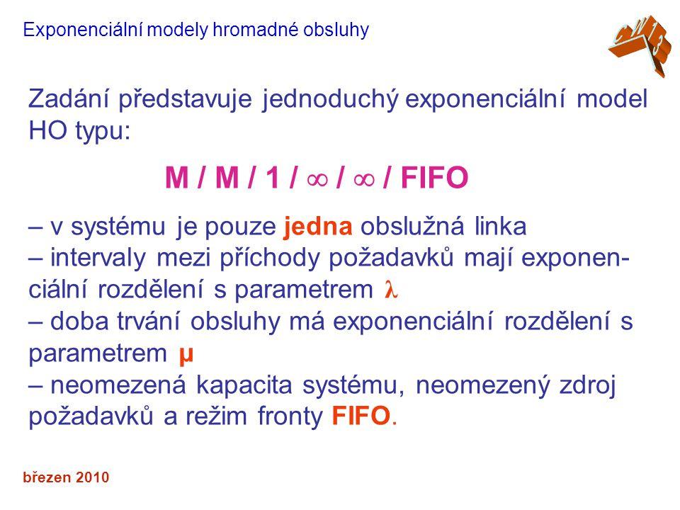 březen 2010 Exponenciální modely hromadné obsluhy Zadání představuje jednoduchý exponenciální model HO typu: M / M / 1 /  /  / FIFO – v systému je pouze jedna obslužná linka – intervaly mezi příchody požadavků mají exponen- ciální rozdělení s parametrem λ – doba trvání obsluhy má exponenciální rozdělení s parametrem μ – neomezená kapacita systému, neomezený zdroj požadavků a režim fronty FIFO.