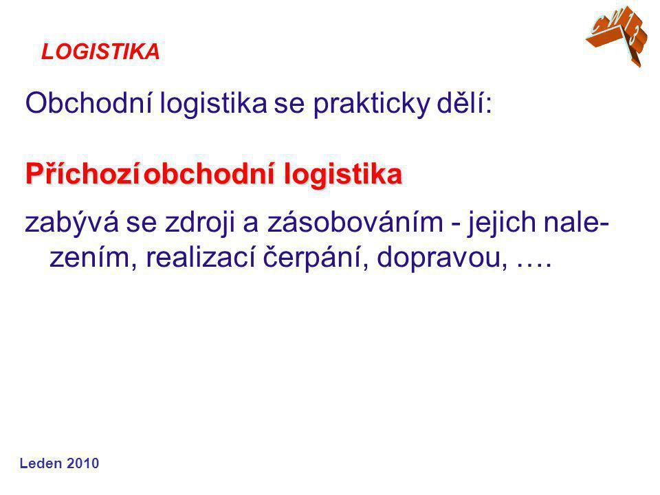 Leden 2010 Obchodní logistika se prakticky dělí: Příchozí obchodní logistika zabývá se zdroji a zásobováním - jejich nale- zením, realizací čerpání, dopravou, ….