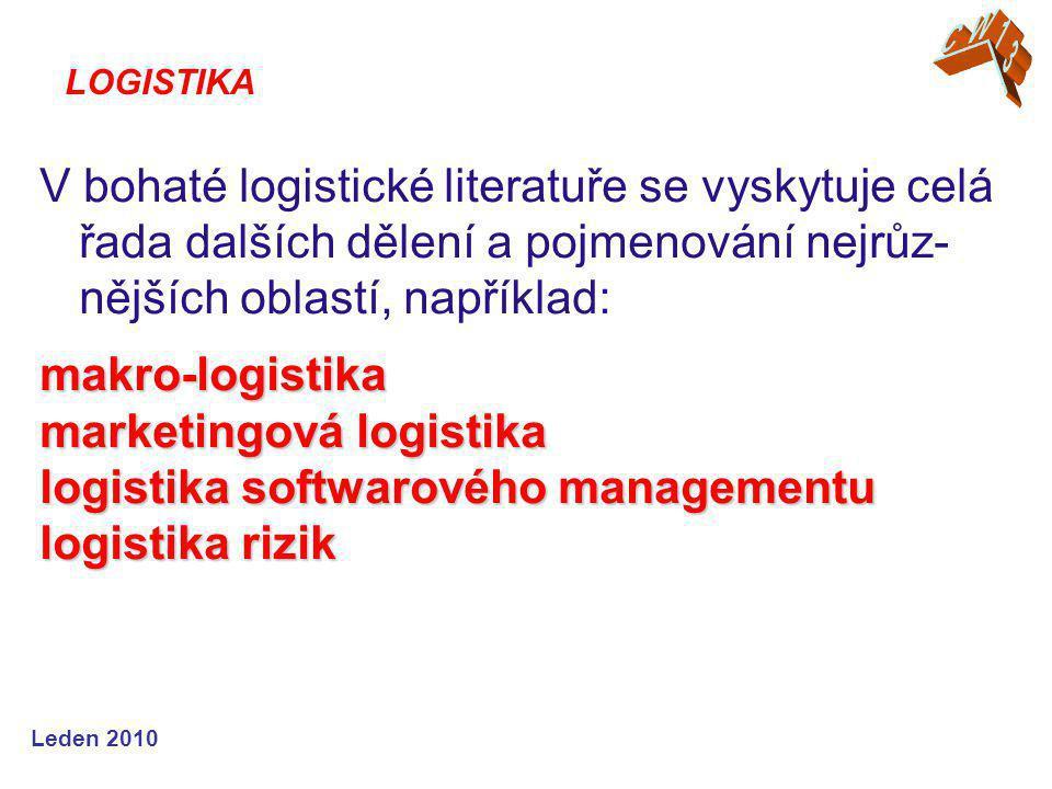 Leden 2010 V bohaté logistické literatuře se vyskytuje celá řada dalších dělení a pojmenování nejrůz- nějších oblastí, například:makro-logistika marketingová logistika logistika softwarového managementu logistika rizik LOGISTIKA