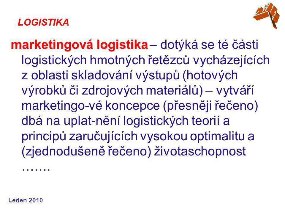 Leden 2010 marketingová logistika marketingová logistika – dotýká se té části logistických hmotných řetězců vycházejících z oblasti skladování výstupů (hotových výrobků či zdrojových materiálů) – vytváří marketingo-vé koncepce (přesněji řečeno) dbá na uplat-nění logistických teorií a principů zaručujících vysokou optimalitu a (zjednodušeně řečeno) životaschopnost …….