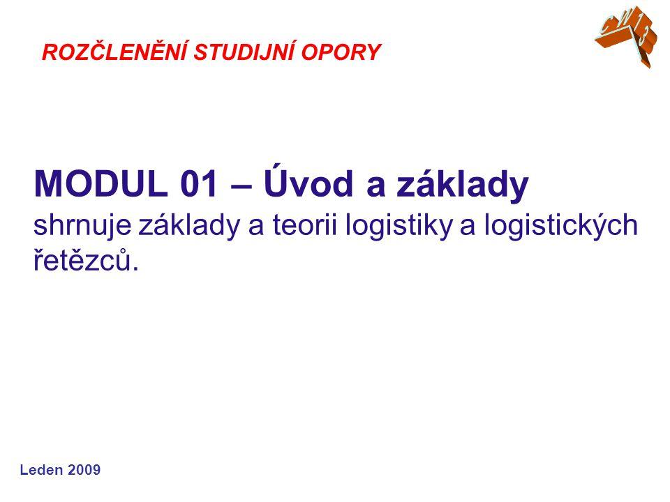 Leden 2009 MODUL 01 – Úvod a základy shrnuje základy a teorii logistiky a logistických řetězců.