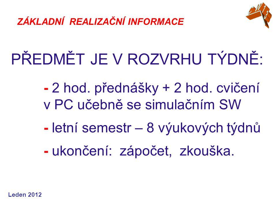 Leden 2012 PŘEDMĚT JE V ROZVRHU TÝDNĚ: - 2 hod. přednášky + 2 hod.