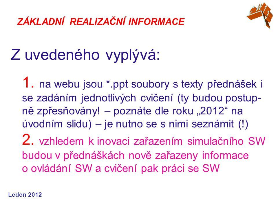 Leden 2012 CW05 – Teorie rozhodovacích procesů http://www.fce.vutbr.cz/tst/rada.v spolu s prezentacemi k přednáškám a cvičením.