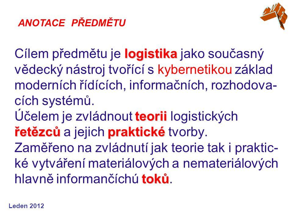 Leden 2012 logistika teorii řetězcůpraktické toků Cílem předmětu je logistika jako současný vědecký nástroj tvořící s kybernetikou základ moderních řídících, informačních, rozhodova- cích systémů.