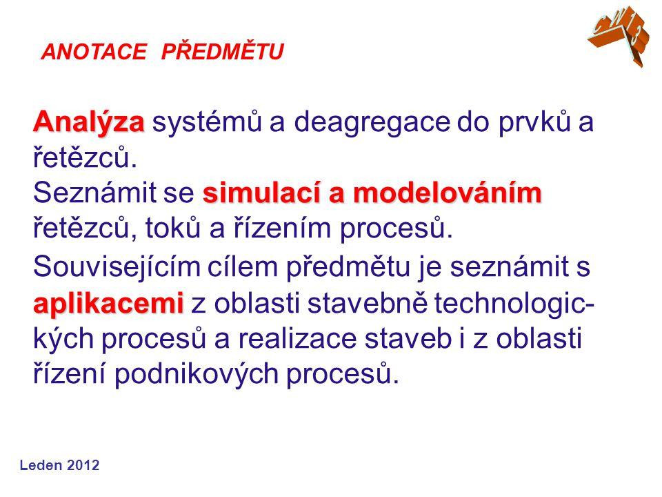 Leden 2012 Analýza simulací a modelováním aplikacemi Analýza systémů a deagregace do prvků a řetězců.