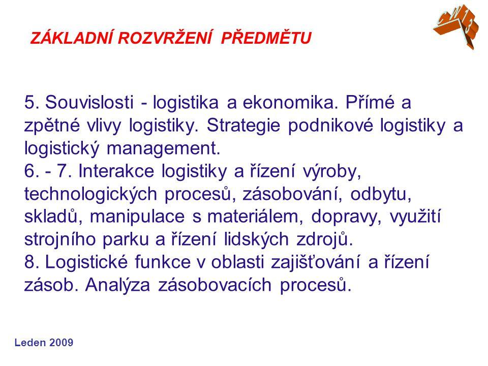 Leden 2009 5. Souvislosti - logistika a ekonomika.