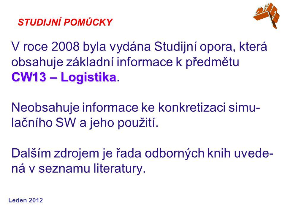 Leden 2012 CW13 – Logistika V roce 2008 byla vydána Studijní opora, která obsahuje základní informace k předmětu CW13 – Logistika.