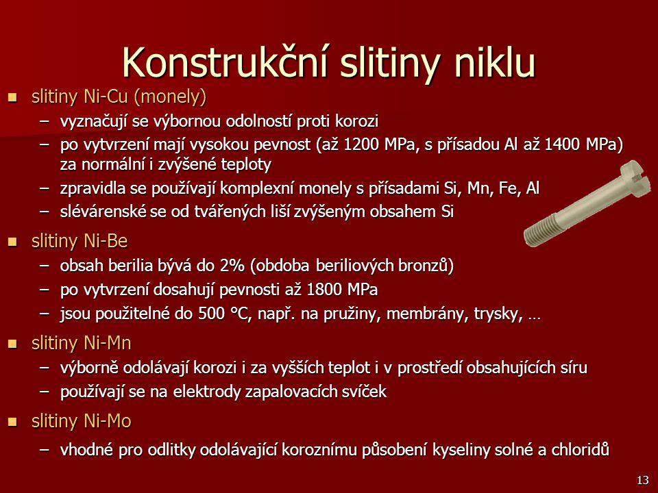 13 Konstrukční slitiny niklu slitiny Ni-Cu (monely) slitiny Ni-Cu (monely) –vyznačují se výbornou odolností proti korozi –po vytvrzení mají vysokou pe