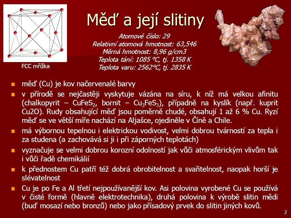 2 měď (Cu) je kov načervenalé barvy v přírodě se nejčastěji vyskytuje vázána na síru, k níž má velkou afinitu (chalkopyrit – CuFeS 2, bornit – Cu 3 Fe