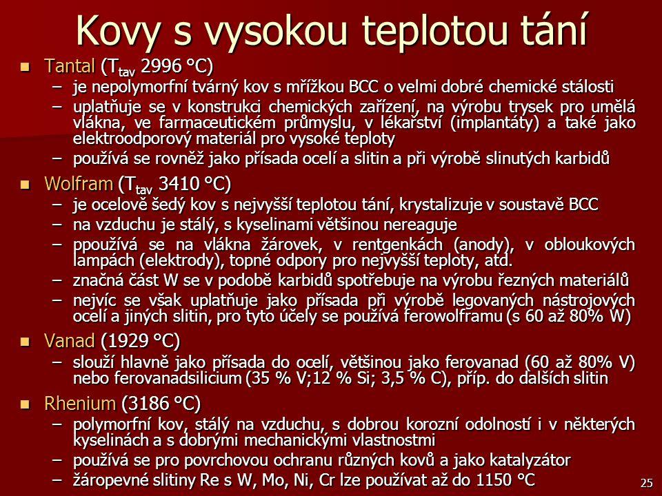 25 Kovy s vysokou teplotou tání Tantal (T tav 2996 °C) Tantal (T tav 2996 °C) –je nepolymorfní tvárný kov s mřížkou BCC o velmi dobré chemické stálost