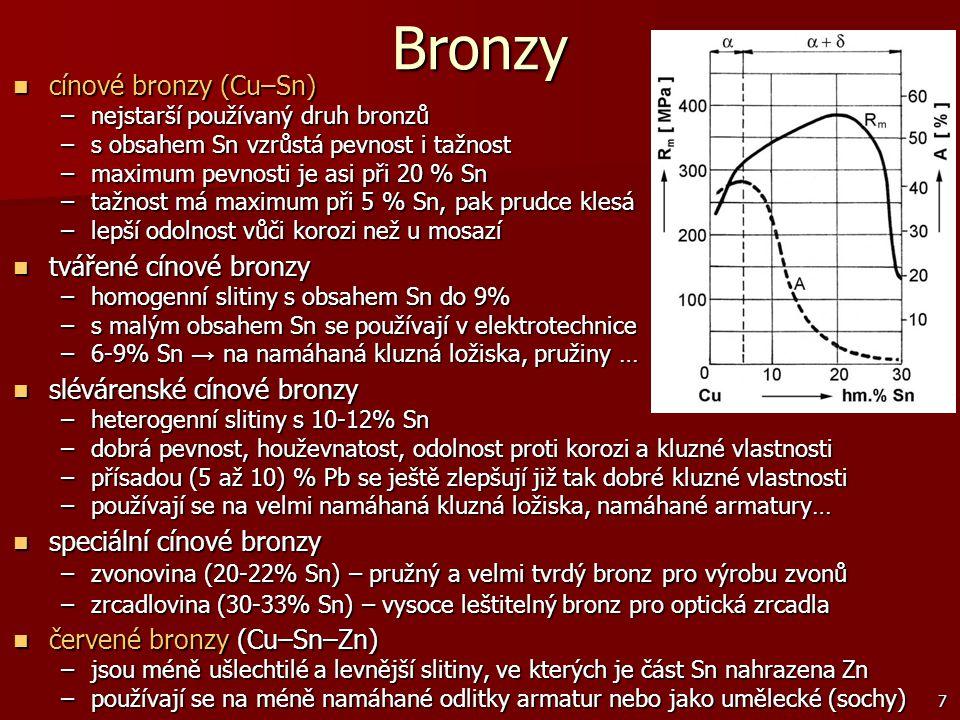 7 Bronzy cínové bronzy (Cu–Sn) cínové bronzy (Cu–Sn) –nejstarší používaný druh bronzů –s obsahem Sn vzrůstá pevnost i tažnost –maximum pevnosti je asi