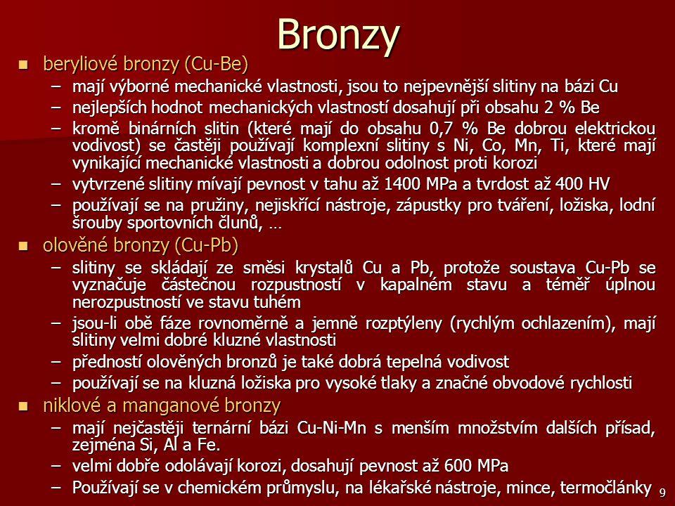 9 Bronzy beryliové bronzy (Cu-Be) beryliové bronzy (Cu-Be) –mají výborné mechanické vlastnosti, jsou to nejpevnější slitiny na bázi Cu –nejlepších hod