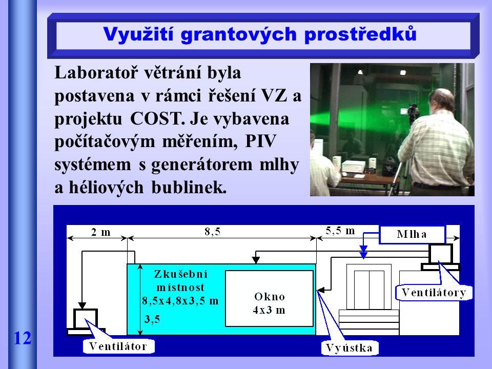 Laboratoř větrání byla postavena v rámci řešení VZ a projektu COST. Je vybavena počítačovým měřením, PIV systémem s generátorem mlhy a héliových bubli