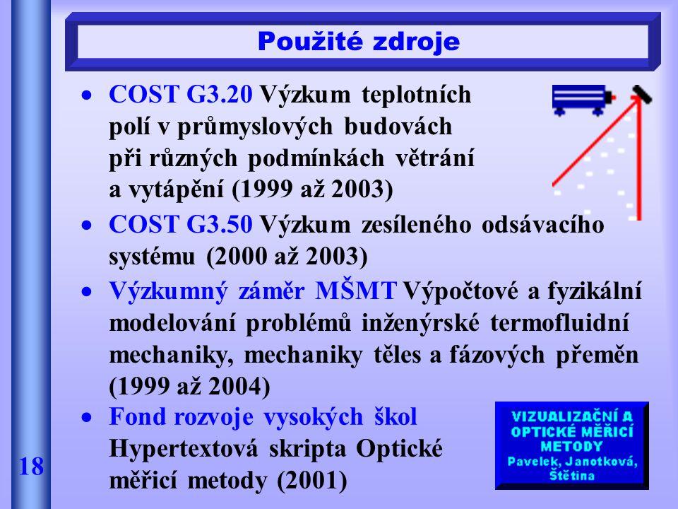  COST G3.20 Výzkum teplotních polí v průmyslových budovách při různých podmínkách větrání a vytápění (1999 až 2003) Použité zdroje 18  COST G3.50 Vý