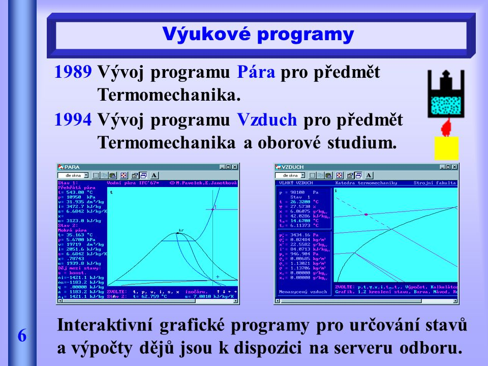 Výukové programy 6 1989Vývoj programu Pára pro předmět Termomechanika. 1994Vývoj programu Vzduch pro předmět Termomechanika a oborové studium. Interak