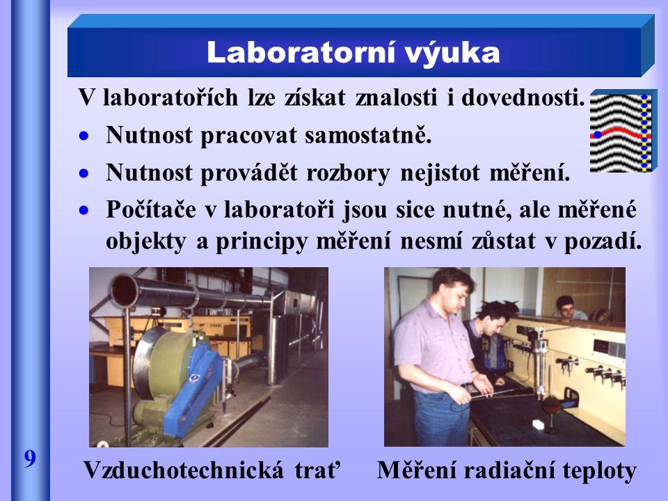 V laboratořích lze získat znalosti i dovednosti.  Nutnost pracovat samostatně.  Nutnost provádět rozbory nejistot měření.  Počítače v laboratoři js