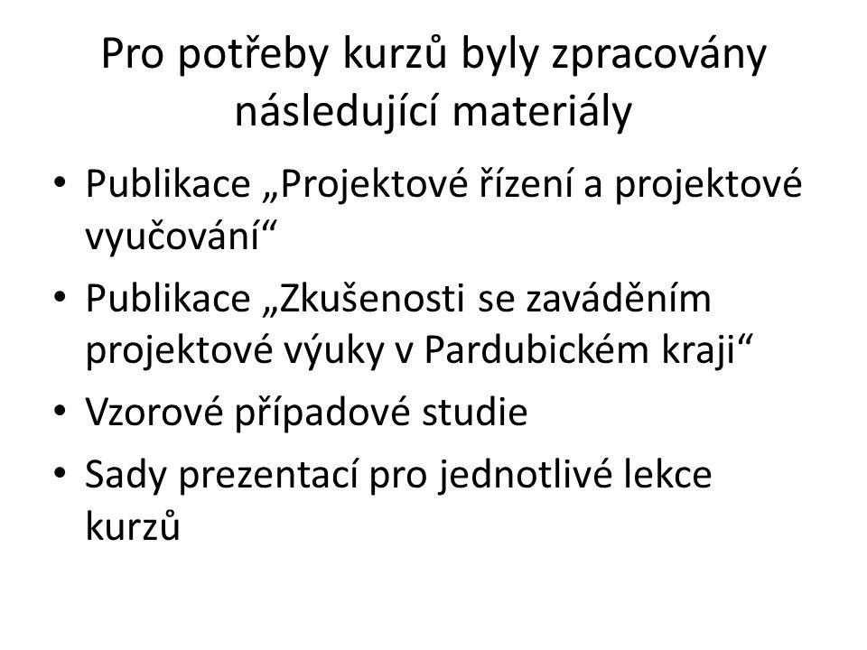 """Pro potřeby kurzů byly zpracovány následující materiály Publikace """"Projektové řízení a projektové vyučování"""" Publikace """"Zkušenosti se zaváděním projek"""