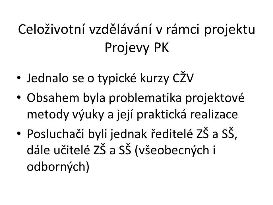 Celoživotní vzdělávání v rámci projektu Projevy PK Jednalo se o typické kurzy CŽV Obsahem byla problematika projektové metody výuky a její praktická r