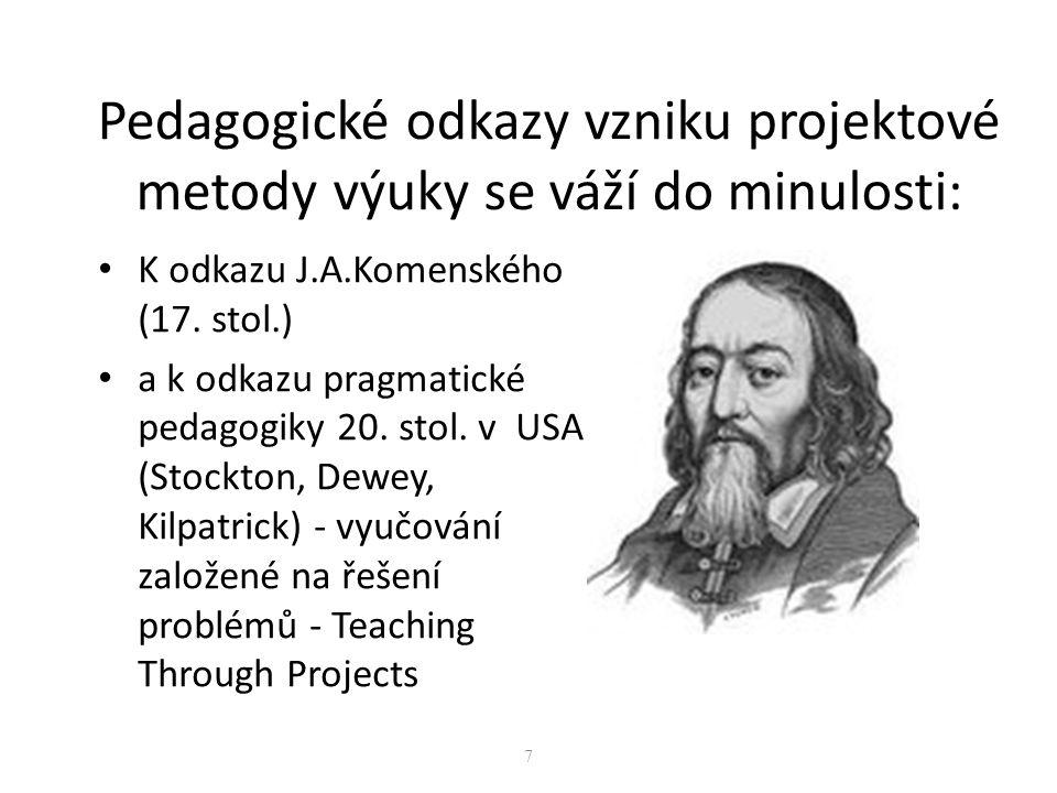 Pedagogické odkazy vzniku projektové metody výuky se váží do minulosti: K odkazu J.A.Komenského (17. stol.) a k odkazu pragmatické pedagogiky 20. stol