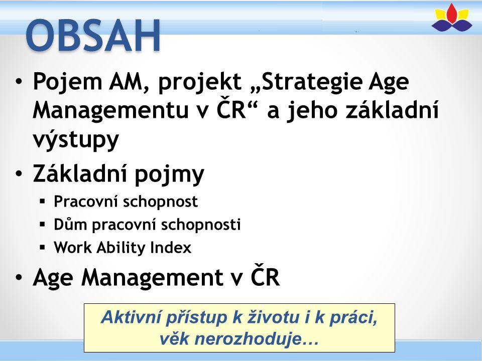 """Pojem AM, projekt """"Strategie Age Managementu v ČR"""" a jeho základní výstupy Základní pojmy  Pracovní schopnost  Dům pracovní schopnosti  Work Abilit"""