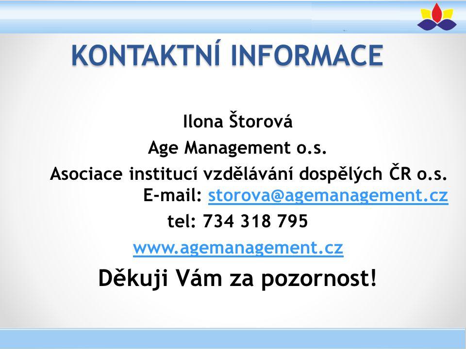 Ilona Štorová Age Management o.s. Asociace institucí vzdělávání dospělých ČR o.s. E-mail: storova@agemanagement.czstorova@agemanagement.cz tel: 734 31