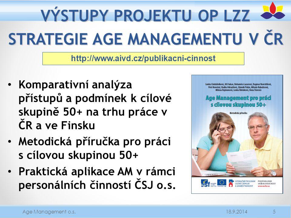VÝSTUPY PROJEKTU OP LZZ STRATEGIE AGE MANAGEMENTU V ČR Komparativní analýza přístupů a podmínek k cílové skupině 50+ na trhu práce v ČR a ve Finsku Me