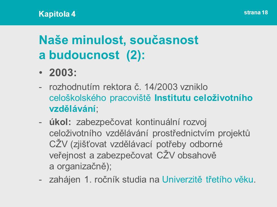 strana 18 Naše minulost, současnost a budoucnost (2): 2003: -rozhodnutím rektora č.