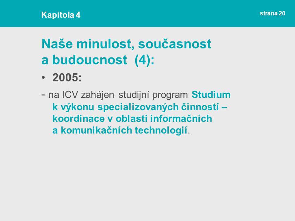 strana 20 Naše minulost, současnost a budoucnost (4): 2005: - na ICV zahájen studijní program Studium k výkonu specializovaných činností – koordinace v oblasti informačních a komunikačních technologií.
