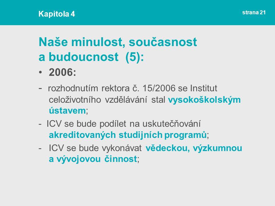 strana 21 Naše minulost, současnost a budoucnost (5): 2006: - rozhodnutím rektora č.