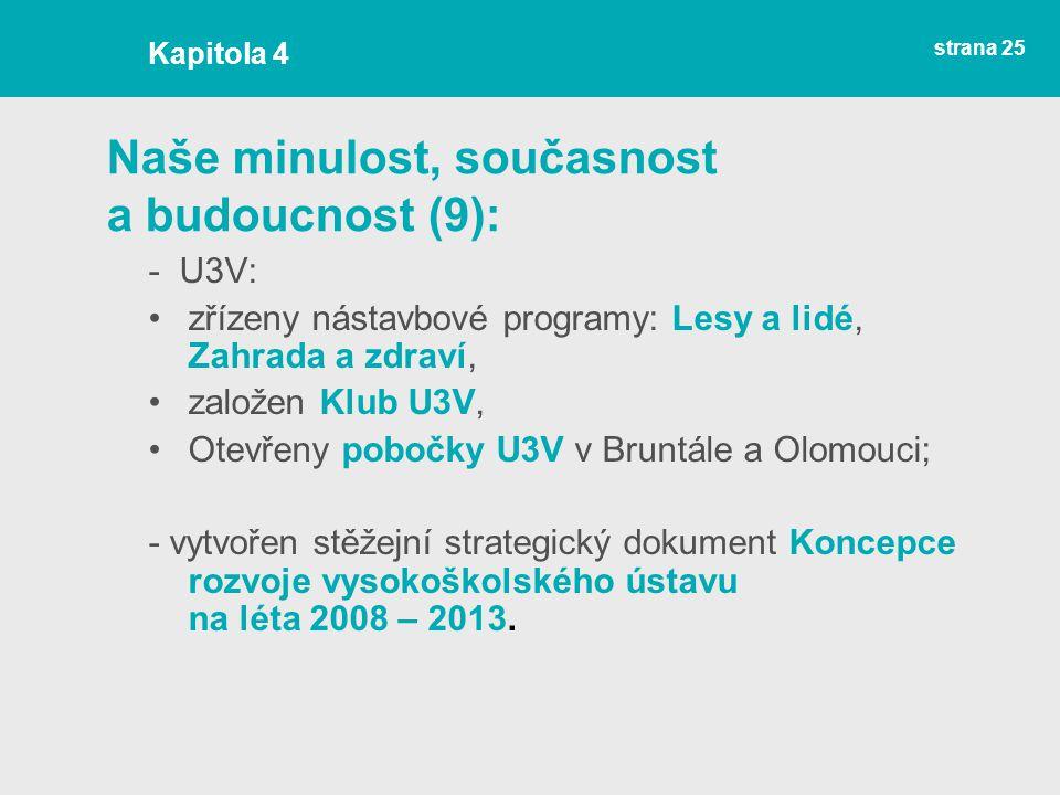 strana 25 Naše minulost, současnost a budoucnost (9): - U3V: zřízeny nástavbové programy: Lesy a lidé, Zahrada a zdraví, založen Klub U3V, Otevřeny pobočky U3V v Bruntále a Olomouci; - vytvořen stěžejní strategický dokument Koncepce rozvoje vysokoškolského ústavu na léta 2008 – 2013.