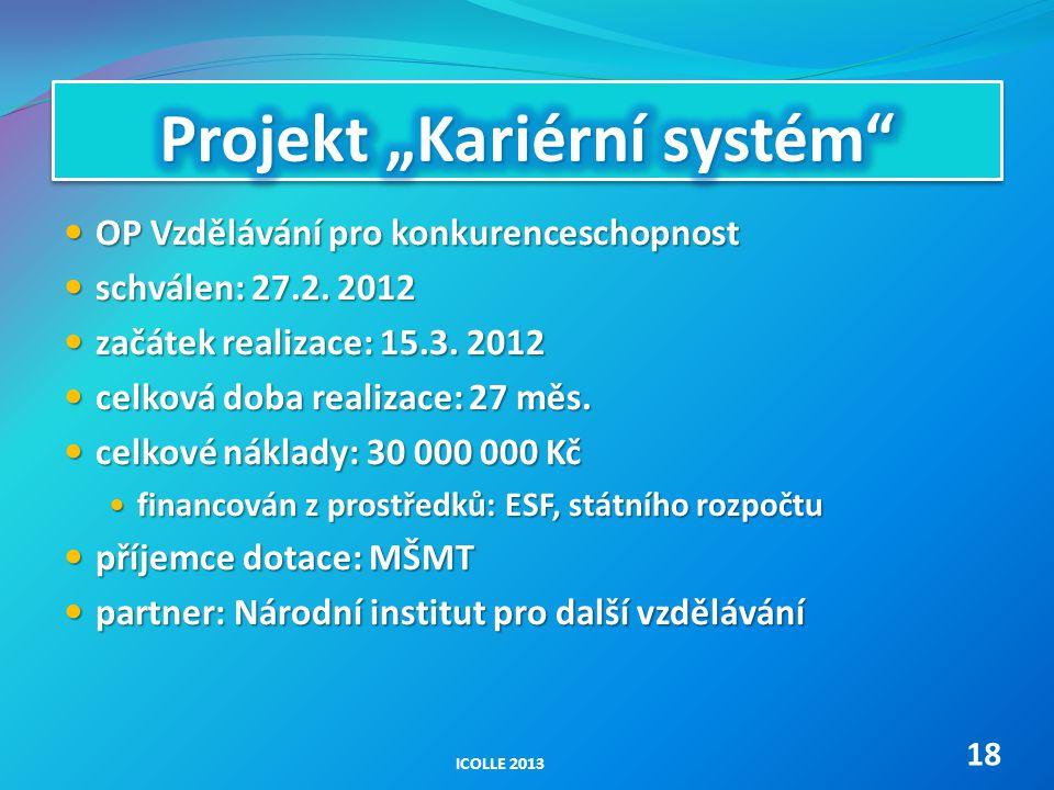OP Vzdělávání pro konkurenceschopnost OP Vzdělávání pro konkurenceschopnost schválen: 27.2. 2012 schválen: 27.2. 2012 začátek realizace: 15.3. 2012 za